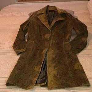 Express long corduroy paisley trench coat